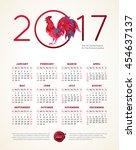 vector calendar for 2017.... | Shutterstock .eps vector #454637137