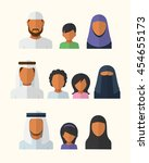arabic families avatars in flat ... | Shutterstock . vector #454655173