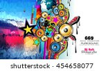 club disco flyer template with... | Shutterstock .eps vector #454658077
