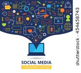 social media design concept... | Shutterstock .eps vector #454658743