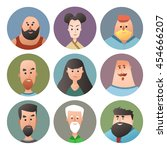 avatar collection. people faces ... | Shutterstock .eps vector #454666207