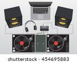 dj mixing turntable set vector...   Shutterstock .eps vector #454695883