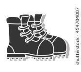 boot footwear  isolated black... | Shutterstock .eps vector #454704007