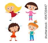 color vector set of cartoon... | Shutterstock .eps vector #454720447