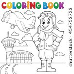 coloring book aviation theme 3  ... | Shutterstock .eps vector #454753723