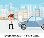 angry businessman shouting on a ... | Shutterstock .eps vector #454758883