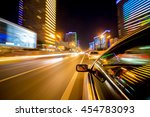 the car moves at great speed at ... | Shutterstock . vector #454783093