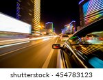 the car moves at great speed at ... | Shutterstock . vector #454783123