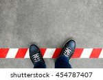 black casual shoes standing on... | Shutterstock . vector #454787407