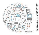 line web concept for science.... | Shutterstock .eps vector #454793977