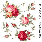 Stock vector decorative vintage rose and bud vector set of blooming flowers for your design adornment for 454795723