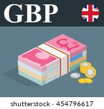 pile banknotes with coins.... | Shutterstock .eps vector #454796617