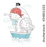 Pirate Boy And Girl In Boat To...