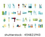 vector beauty accessories flat... | Shutterstock .eps vector #454821943