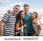 young group of friends on a... | Shutterstock . vector #454844797