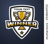 winner sports trophy logo... | Shutterstock . vector #454844953