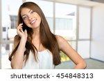 woman talking the phone | Shutterstock . vector #454848313