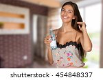 picture of beautiful woman with ... | Shutterstock . vector #454848337