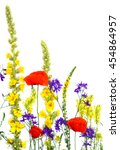 Small photo of Wildflowers: Linaria vulgaris (toadflax), Agrimonia eupatoria, Red poppies, Barbarea vulgaris, Consolida (larkspur) and Verbascum thapsus on a white background with space for text. Flat lay