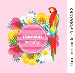 tropical summer poster with... | Shutterstock . vector #454866583