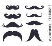 vector cute funny mustache set | Shutterstock .eps vector #454868047