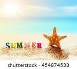 summer beach. word summer of... | Shutterstock . vector #454874533