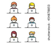 set of people with computer... | Shutterstock .eps vector #454878853