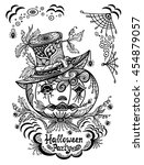 pumpkin in hat in  zen tangle... | Shutterstock .eps vector #454879057