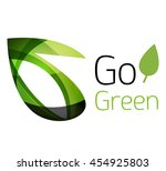 abstract eco leaves logo design ... | Shutterstock . vector #454925803