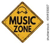 music zone vintage rusty metal... | Shutterstock .eps vector #454935007