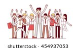 big team celebrating huge... | Shutterstock .eps vector #454937053