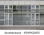 closed office with glass facade  | Shutterstock . vector #454942693