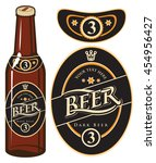 beer bottle with a label in... | Shutterstock .eps vector #454956427