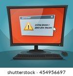 cartoon computer with error... | Shutterstock .eps vector #454956697