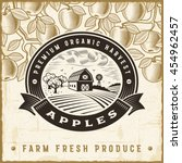 vintage apple harvest label.... | Shutterstock .eps vector #454962457