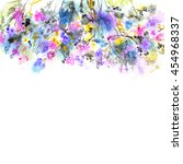 floral background. watercolor... | Shutterstock . vector #454968337