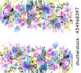 floral background. watercolor... | Shutterstock . vector #454968397