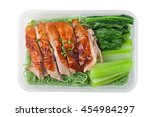 top view of roasted duck with...   Shutterstock . vector #454984297