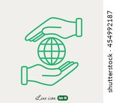 line icon   hand hold globe | Shutterstock .eps vector #454992187