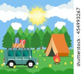 travel car campsite place... | Shutterstock .eps vector #454993267