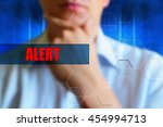 Small photo of Alert title. Person thinking before text heading alert. Alert concept. Dramatic background for social theme. Scene of question, doubt, problem, man thinking.