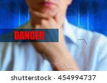 danger title. person thinking... | Shutterstock . vector #454994737