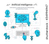 artificial intelligence line... | Shutterstock .eps vector #454994947