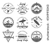 surfing emblem set with... | Shutterstock .eps vector #454995043