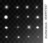 set of vector glowing light... | Shutterstock .eps vector #454997557