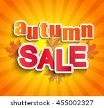 autumn sale lettering with... | Shutterstock .eps vector #455002327