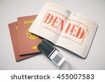 passport with red denied visa... | Shutterstock . vector #455007583