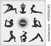 yoga poses and yoga logo. | Shutterstock .eps vector #455056183
