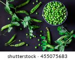 green pea in a tin  pea pods ... | Shutterstock . vector #455075683