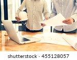 engineer people meeting working ... | Shutterstock . vector #455128057